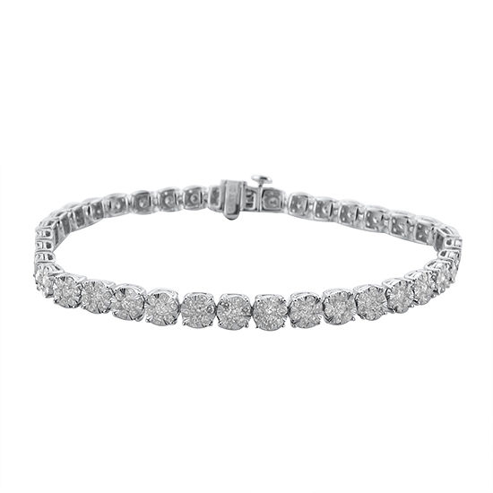 Diamond Blossom 3 CT. T.W. Genuine White Diamond 10K Gold 7.25 Inch Tennis Bracelet
