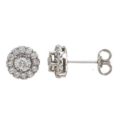 1/2 CT. T.W. Genuine White Diamond 10K White Gold 8.3mm Stud Earrings
