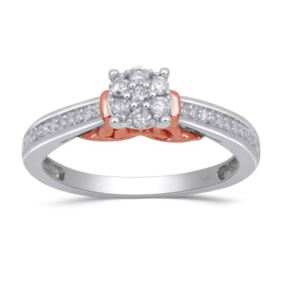 Hallmark Diamonds Womens 1/4 CT. T.W. Genuine White Diamond 14K Rose Gold Over Silver Sterling Silver Heart Cocktail Ring