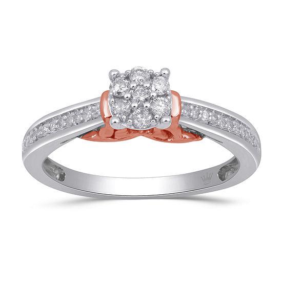 Hallmark Diamonds Womens 1/4 CT. T.W. Genuine White Diamond 14K Rose Gold Over Silver Sterling Silver Heart Cocktail Ring