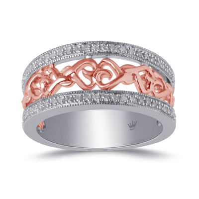 Hallmark Diamonds Womens 1/7 CT. T.W. Genuine White Diamond 14K Rose Gold Over Silver Sterling Silver Heart Band