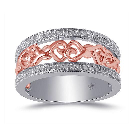 Hallmark Diamonds Womens 1/7 CT. T.W. Genuine White Diamond 14K Rose Gold Over Silver Sterling Silver Heart Cocktail Ring