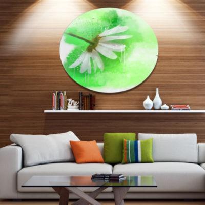 Designart White Chamomile with Green Splashes Floral Metal Round Wall Decor