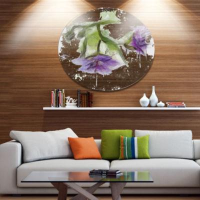 Designart Bunch of Blue Flowers Watercolor FloralMetal Round Wall Decor