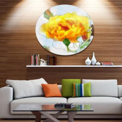 Designart Yellow Rose with Rose Buds Sketch LargeFloral Metal Artwork