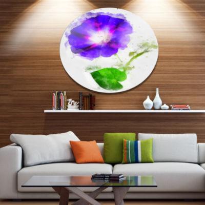 Designart Blue Gentiana Alpina Illustration FloralMetal Round Wall Decor