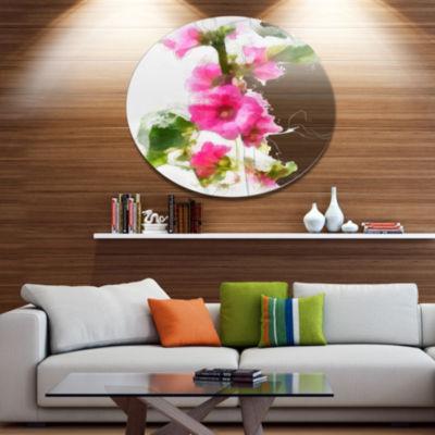 Designart Pink Flower with Stem and Leaves LargeFloral Metal Artwork