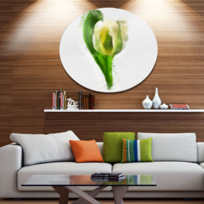 Designart White Tulip with Green Leaves Large Floral Metal Artwork