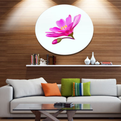 Designart Summer Pink Flower Watercolor Floral Metal Round Wall Decor