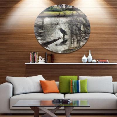 Designart Bird in National Park Watercolor Landscape Metal Round Wall Decor