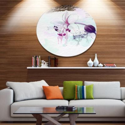 Designart Beautiful Purple Flower with Splashes Large Floral Metal Artwork