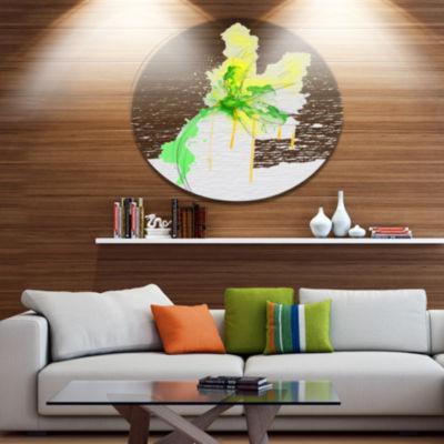 Designart Beautiful Yellow Green Flower Sketch Floral Metal Round Wall Decor