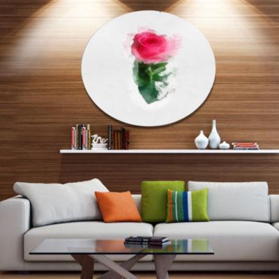 Designart Beautiful Rose with Leaves Drawing Oversized Floral Aluminium Wall Art