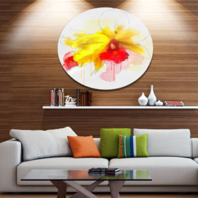 Designart Yellow Iris Flower with Red Splashes Floral Metal Round Wall Decor