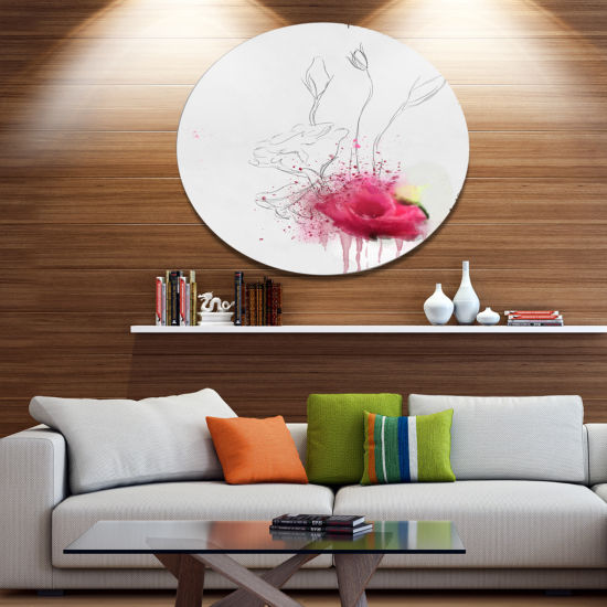 Designart Rose Flowers Sketch with Color SplashesFloral Metal Round Wall Decor