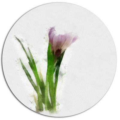 Designart Green Purple Watercolor Flower Sketch Floral Metal Round Wall Decor
