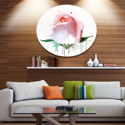 Designart Pink Rose with Paint Splashes Large Floral Metal Artwork