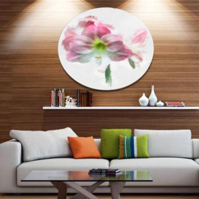 Designart Pink Lily Flowers on White Sketch FloralMetal Round Wall Decor