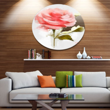 Designart Cute Pink Watercolor Rose Sketch Disc Flowers Large Metal Circle Wall Artwork