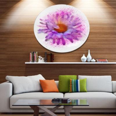Designart Large Purple Watercolor Flower OversizedFloral Aluminium Wall Art
