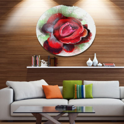 Designart Beautiful Red Rose with Green Shade Floral Metal Round Wall Decor