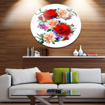 Designart Floral Figure with Variety of Floral Oversized Floral Aluminium Wall Art
