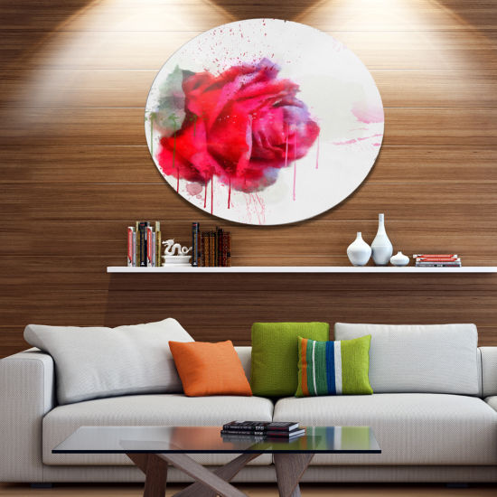 Designart Watercolor Red Rose Illustration Oversized Floral Aluminium Wall Art