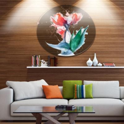Designart Red Hand drawn Tulips Sketch Floral Metal Round Wall Decor