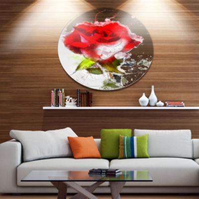 Designart Hand drawn Watercolor Rose Flower FloralMetal Round Wall Decor
