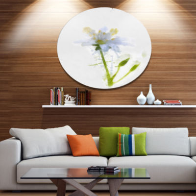 Designart White Green Watercolor Flower Sketch Floral Metal Round Wall Decor