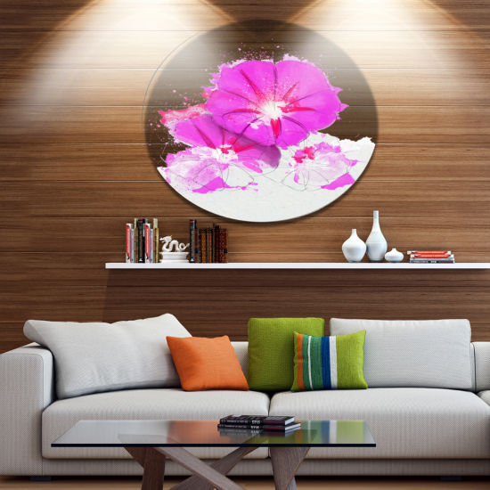 Designart Pink Flowers Sketch with Color SplashesFloral Metal Round Wall Decor