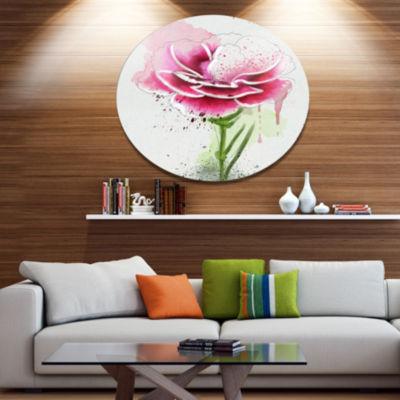 Designart Pink Hand drawn Watercolor Flower FloralMetal Round Wall Decor