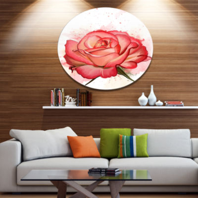 Designart Red Rose Illustration with Splashes Floral Metal Round Wall Decor