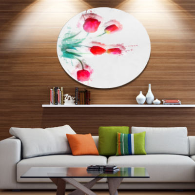 Designart Bunch of Red Tulips Watercolor Floral Metal Round Wall Decor