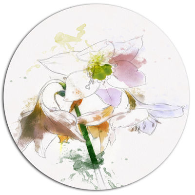 Designart Large Petal Watercolor Flower Sketch Floral Metal Round Wall Decor
