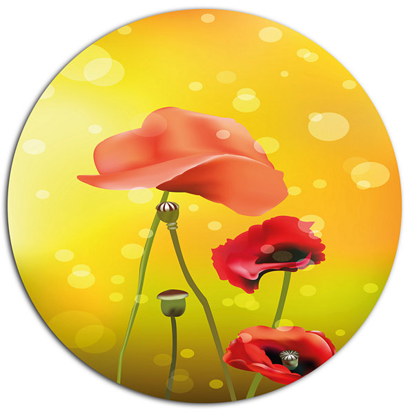 Designart Red Floral on Yellow Background Oversized Floral Aluminium Wall Art