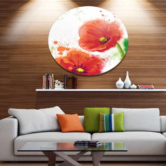 Designart Bloomy Red Tulips Watercolor Disc Flowers Large Metal Circle Wall Artwork