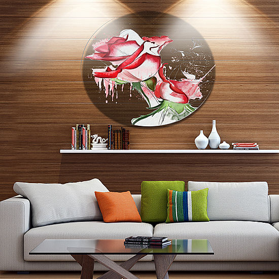 Designart Fantastic Red Roses Watercolor Floral Metal Round Wall ...
