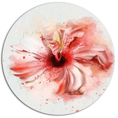 Designart Lovely Pink Watercolor Flower Disc Flowers Large Metal Circle Wall Artwork
