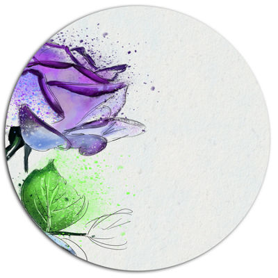 Designart Beautiful Blue Rose with Leaves FloralMetal Round Wall Decor