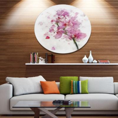 Designart Pink Flower with Falling Petals Large Floral Metal Artwork