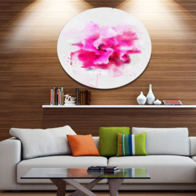 Designart Beautiful Red Flower with Color SplashesFloral Metal Round Wall Decor
