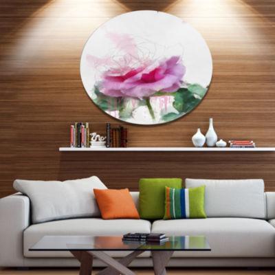 Designart Pink Rose Stem with Paint Splashes LargeFloral Metal Artwork