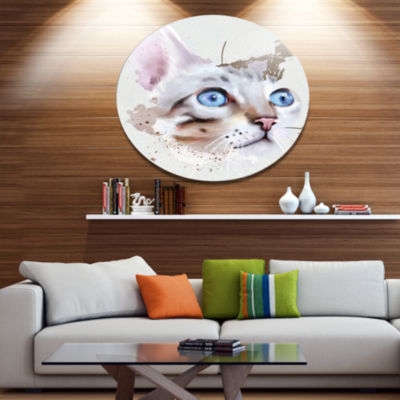 Designart Cat with Blue Eyes Watercolor Animal Metal Round Wall Decor