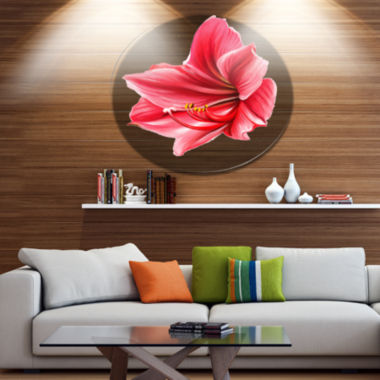 Designart Big Red Flower Sketch on White Large Floral Metal Artwork