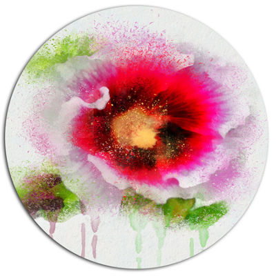 Designart Poppy with Green Watercolor Splashes Oversized Floral Aluminium Wall Art