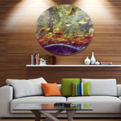Designart Abstract Fall Watercolor Drawing Landscape Metal Round Wall Decor