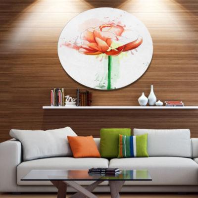 Designart Rose with Stem and Paint Splashes LargeFloral Metal Artwork
