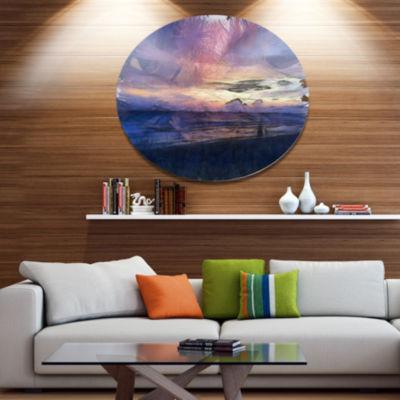 Designart Sunset over Blue Sea Watercolor Landscape Metal Round Wall Decor