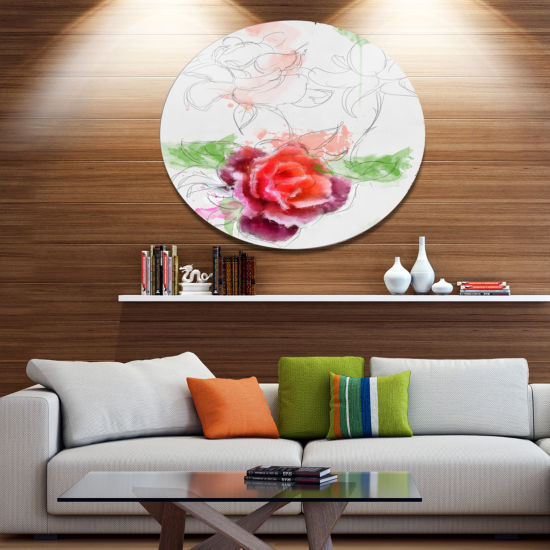Designart Beautiful Rose with Rose Sketches FloralMetal Round Wall Decor